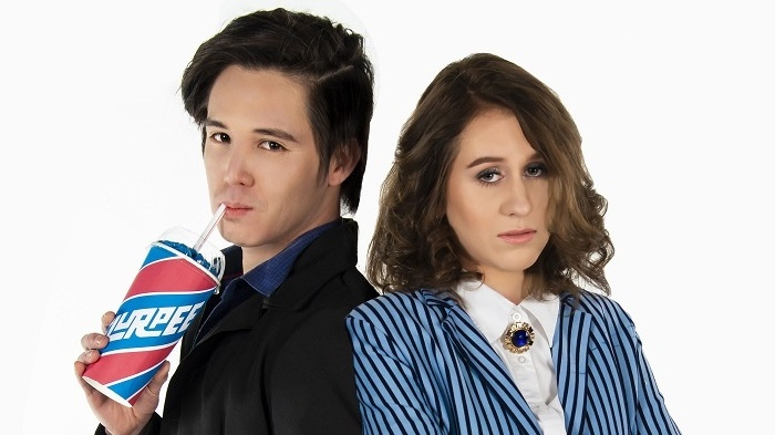 """Will Huang as JD, Belle Nicol as Veronica in """"Heathers"""". Photo by Janelle McMenamin"""