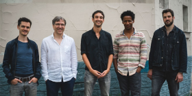 From left, Ouriel Ellert (bass), Antoine Banville (drums), Alex Stuart (guitar), Irving Acao (tenor sax and piano), Arno de Casanove (trumpet, keys and voice).