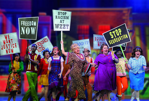 """The protest scene in """"Hairspray"""". Photo by Jeff Busby"""