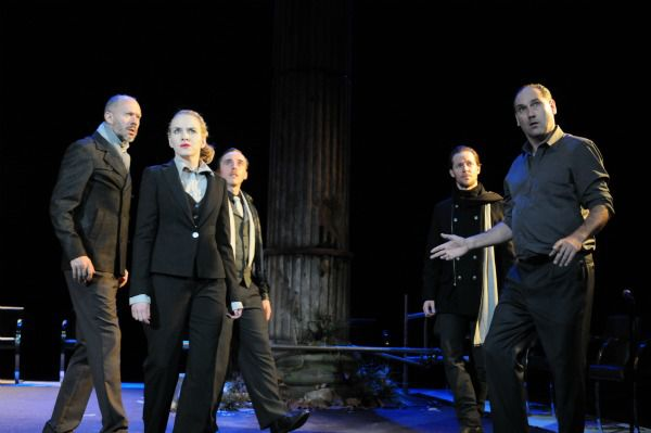 The conspirators... Kate Mulvany (Cassius) and Colin Moody (Brutus, far right)