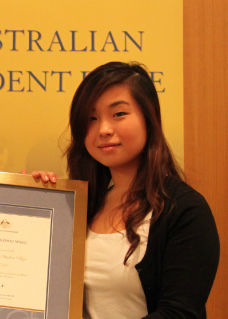 2012 Australian Student Prize winner Judy Mengzhou Wang, was one of 12 who won the award in the ACT.
