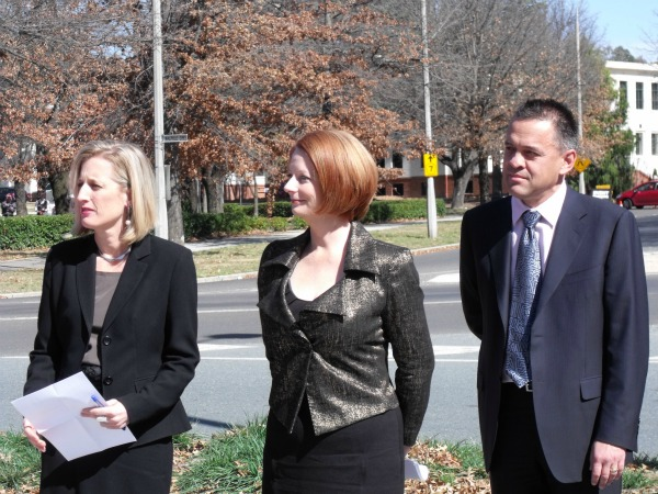 Chief Minister Katy Gallagher, Prime Minister Julia Gillard and Labor MLA Dr Chris Bourke.