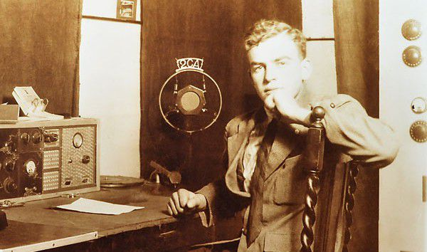 Radio pioneer George Barlin age 17 at work at 2CA in 1932.