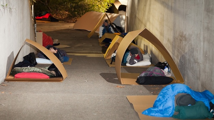 Theres no place like homelessness... participants in a CEO sleepout at the National Gallery.