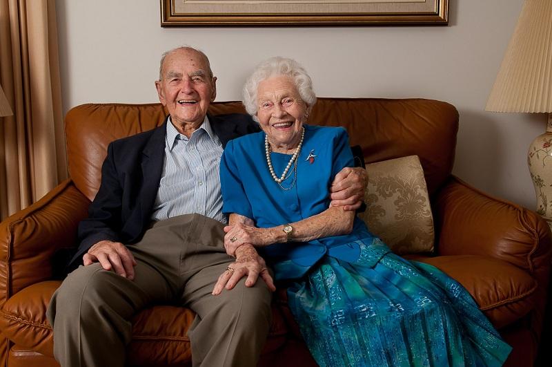 George and Iris Barlin celebrating their 75th wedding anniversary in 2013.