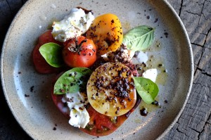 Choku Bai Jo Heirloom tomato, Buffalo Mozzarela with olive dust