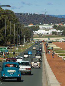 The Morris 100 Canberra Centenary tour heads down Anzac Parade.