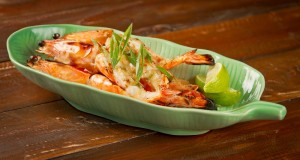 King prawns with lime and coconut butter.