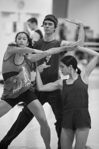 "Vivienne Wong, Jake Mangakahia and Ella Havelka rehearse ""Monument"". Photo by Lynette Wills."