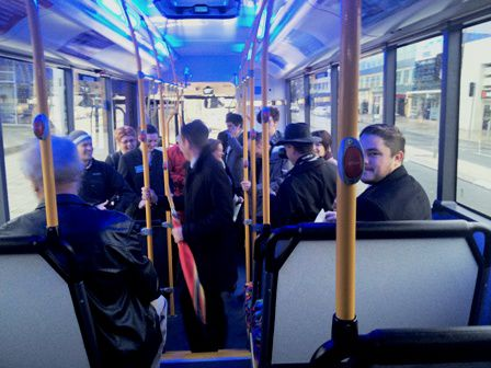 Poets and visitors in the ACTION bus today