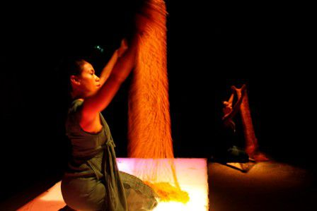Tunggal with textile piece, photo by Ponch Hawkes