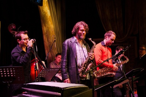 """Saxophonist-composer John Mackey, centre,... has written a slap-up """"Canberra Centenary Suite"""" for performance by his old mates from Sydney. Photo by Brian Stewart"""