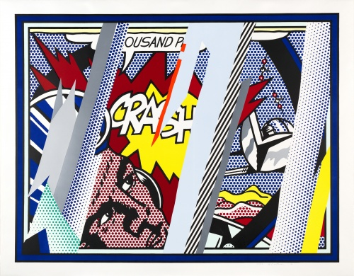 """""""Reflections on Crash"""", 1990, lithograph, screenprint, collage, embossing."""