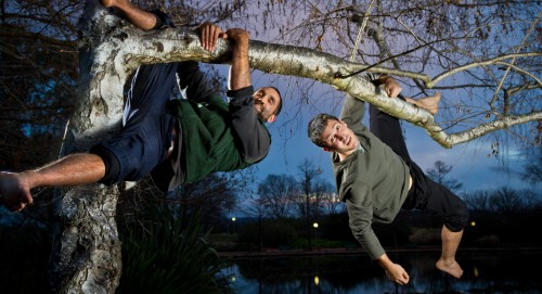 """""""Natural fitness"""" gurus, Simon Thakur, left, and Craig Mallett... """"We go way outside of this very, very narrow range that is considered acceptable movement for an adult."""" Photo by Brent McDonald"""