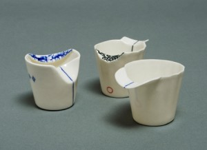 Sarit Cohen 3 small jugs - porcelain.