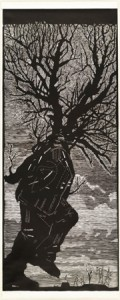 "William KENTRIDGE 1955."" Walking man"" 2000, linocut, National Gallery of Australia, Canberra, The Poynton Bequest 2013"