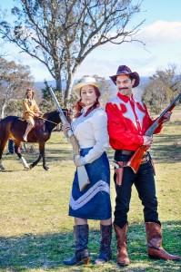 "Anita Davenport (Annie Oakley) and Richard Block (Frank Butler) in ""Annie Get Your Gun"". Photo by Rebecca Doyle"
