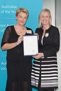 Prof Zsuzsoka Kecskes, left, is congratulated by Chief Minister Katy Gallagher.