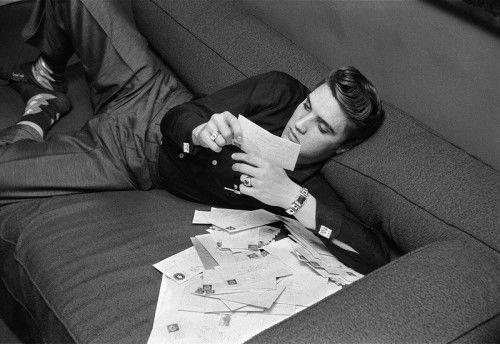 Reading fan mail, 1956