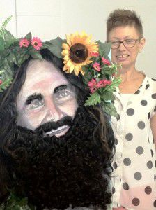 Sarah Hogwood with a hairy Costa portrait.