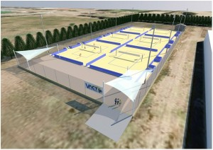 An artist's impression of the Lyneham Beach Volleyball facility.