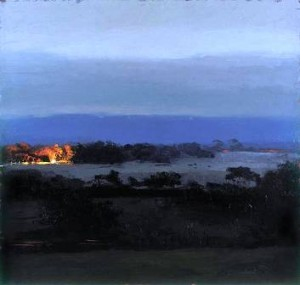 Philip Wolfhagen, Night Beacon VI, 2005, oil and beeswax on linen. National Gallery of Victoria Collection
