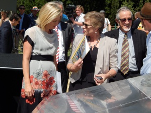 L-R: Canberra CBD Ltd CEO Jane Easthope speaks to Chief Minister Katy Gallagher.