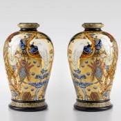 Exotic Birds and Strange Fruit Palaceware vase, pair, by Stephen Bowers
