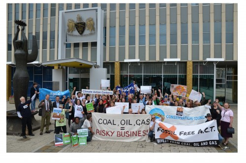 anti fossil fuel rally in Civic Square