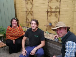 L-R: Canberra City Farm committee member Arian McVeigh, A Bite to Eat owner Tony Bogovic and Canberra City Farm vice president Mark Spain at the Chifley shops.