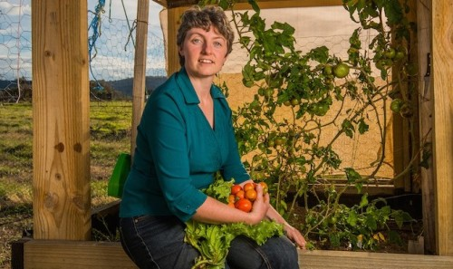 "Veggie grower Elizabeth Goodfellow... ""People seem to love to stop and chat, and share stories and recipes. We also get passers-by asking if they can buy the produce, but it's done by exchange only."" Photo by Gary Schafer"