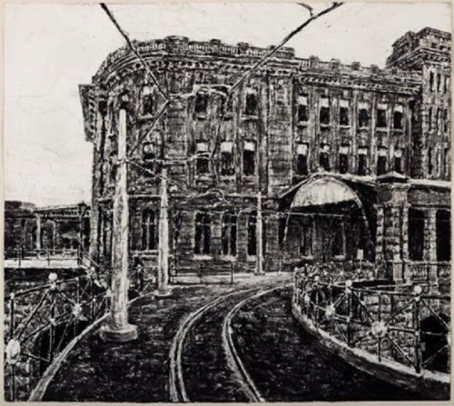 """Nicholas Harding, """"Eddy Avenue"""" (3) 2001, black ink on two sheets of torn and abraded paper"""