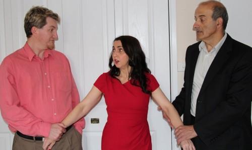 Jason Morton as Joshua; Rina Onorato as Felicity and Bill Kolentisis as Tom