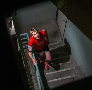 Vertical World Circuit Champion Mark Bourne… the fastest stair climber in the world. Photo by Gary Schafer