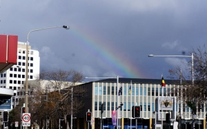 rainbow over the assembly