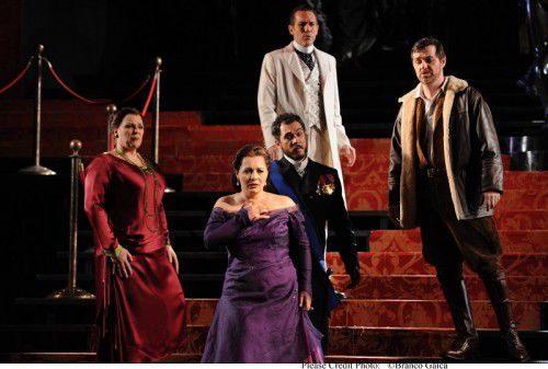 Jacqueline Dark as Emilia, Lianna Haroutounian as Desdemona, Pelham Andrews as Lodovico, David Corcoran as Roderigo and James Egglestone as Cassio. Photo Branco Gaica