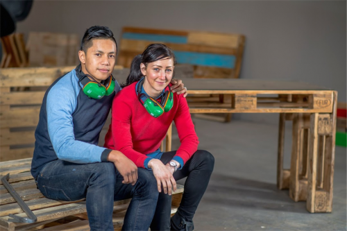 "Carlo Malaca and Anita Jones… ""Importers are willing to give us pallets since it saves them time and money in returning or disposing of them,"" says Carlo. Photo by Gary Schafer"