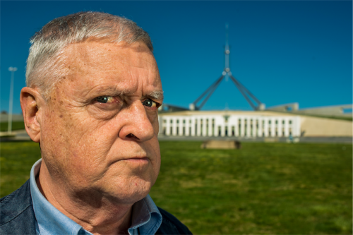 "Max Gillies at Parliament House… ""When you are younger your face is more pliable, but at my age, playing Julia Gillard was grotesque."" Photo by Gary Schafer"