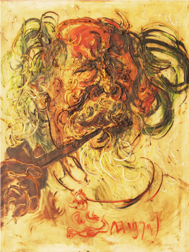 Potret diri dan pipanya [Self portrait with pipe] 1971 by Affandi oil on canvas Collection of the  National Gallery  of Indonesia