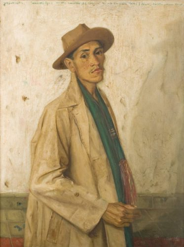 Potret diri [Self portrait] 1962 by Harijadi Sumodidjojo oil on canvas Collection of the National  Gallery of Indonesia