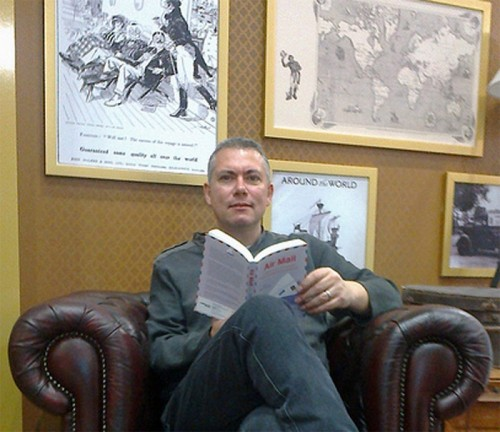 John Brookes  'travels' in his armchair