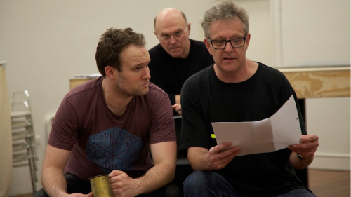"""Douglas Hansell, Phillip Scott and Jonathan Biggins rehearse """"Open for Business"""". Photo by Grant Sparkes-Carroll."""