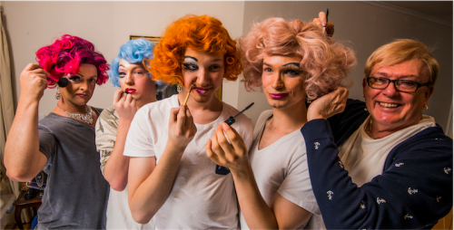 The boys in wigs, from left, Ben O'Reilly (red), Jake Willis (blue), Nathan Rutups (orange), David Santolin (pink) and hairdresser Charles Oliver. Photo by Gary Schafer.