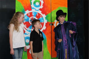 Caitlin Johnstone, left, Jake Keen and Jackson Nash in Pied Piper's Christmas show.