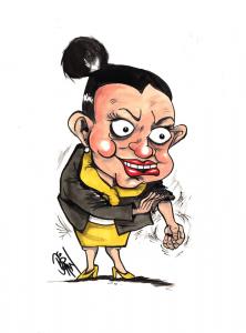 Tasmania's feisty Senator Jackie Lambie. Drawing by Paul Dorin