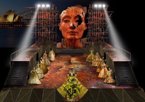 Set render for Aida by Mark Thompson. Image courtesy of Opera Australia