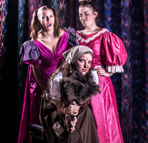 From left, Risa Craig, as stepsister Joy; Adellene Fitzsimmons as Cinderella and Holly Ross as stepsister Grace. Photo by Andrew Campbell