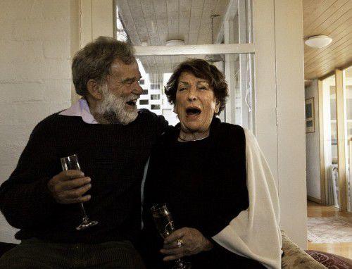 Joy Warren enjoys a joke with Sebastian Clark, photo Judith Crispin