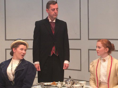 L to r Kayleigh  Brewster as Gwendolen, Andrew Tregenza as Lane and Jessica Symonds as Cecily.