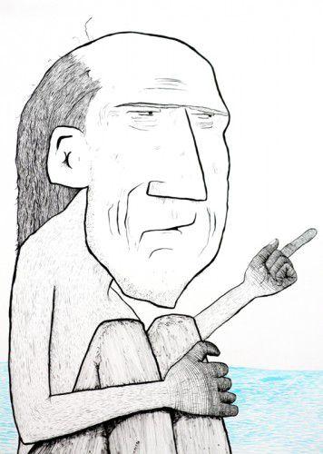 Joshua Santospirito, 'Northerner', 2014. Ink drawing on paper (detail)